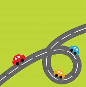 Background with big loop road and cartoon cars