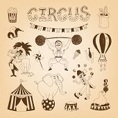 stock photo of tabernacle  - vintage circus elements for poster design with elephant and lion tamer - JPG