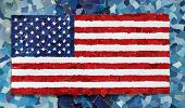 US national flag made from many pieces of torn paper on sky blue background