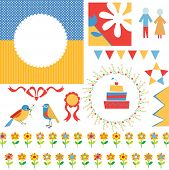 Birthday or party greeting set - frames icons