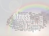 Concept or conceptual fitness and health abstract word cloud or wordcloud, rainbow sun background