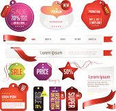 Red Modern Tags, Labels, And Headers Design With Sample Text (vector)