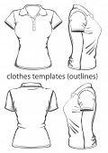 Women's polo-shirt design template (front, back and side view). Outline. Vector illustration.