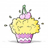 cartoon exploding cupcake