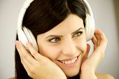 Beautiful Happy Woman Listening Music With Headset