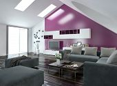 Modern apartment living room interior with a purple accent wall and sloping ceiling with skylights a