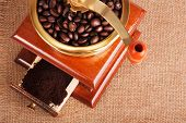 Coffee grinder with coffee beans