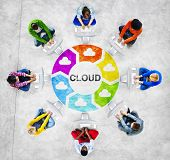 People in a Circle Using Computer with Cloud Concept