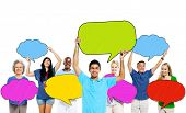 Multi-Ethnic Group of People and Colorful Speech Bubbles