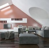 Modern living room with sloping apex walls and ceiling with skylights, a wooden parquet floor, moder