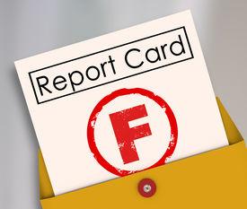 image of fail job  - Letter F grade report card rating terrible - JPG