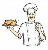 Chef With Turkey.