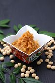 pic of soybeans  - studio shot of soybean paste MISO and soybeans - JPG