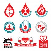 Blood donation - vector logo badges collection. World blood donor day - 14 June.