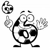 Number six with soccer ball skin and smiling face