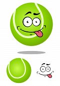 Green cartoon tennis ball with smiling face
