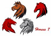 stock photo of stallion  - Horse stallions cartoon characters for equestrian sports and mascot or tattoo design - JPG
