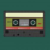 Audio cassete. Vector illustration. Isolated on green background.