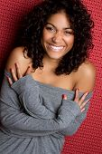 picture of black curly hair  - Pretty smiling black ethnic playful woman laughing - JPG
