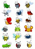 stock photo of bee cartoon  - Cartooned insects set with bee - JPG