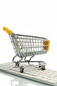 shopping cart is on the keyboard of a pc, symbolic photo for online shopping and consumer behavior