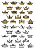 Imperial and royal crowns heraldic set