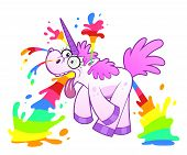 stock photo of explosion  - Pink cartoon unicorn makes wacky rainbow explosion - JPG