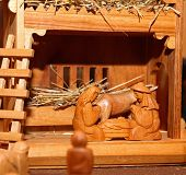 pic of nativity scene  - wooden statues of the Nativity scene with Holy family - JPG