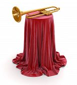 Table covered cloth with trumpet