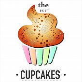 Illustration of isolated cupcake on white background. EPS 10 vector card