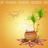 South Indian harvesting festival Happy Pongal celebrations with traditional mud pot and sugarcane on floral design decorated shiny background.