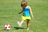 Adorable Toddler Playing Soccer