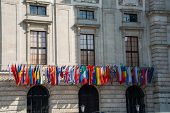 Flags at the HQ of OSCE in Vienna, Austria