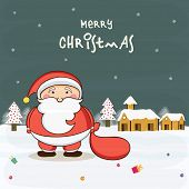 Cute Santa Claus holding gift sack on winter night background for Merry Christmas celebrations.