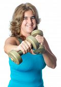 Hispanic woman exercising with weights boxing with a pair of of dumbbells isolated on white