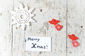 Christmas Decor Elements With Angels And Snowflakes And Merry Xmas Note
