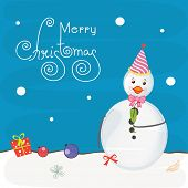 foto of ball cap  - Cute snowman in cap and bow with gift and X - JPG