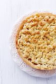 Shortcrust apple tart with coconut crumble