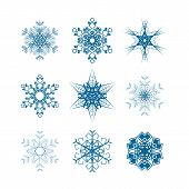 Set of snowflakes icons isolated on white