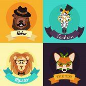 Set of Fashion Hipster Animals