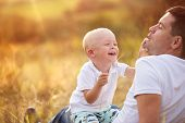 Father and son enjoying time outdoor