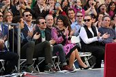 LOS ANGELES - DEC 8:  Orlando Bloom, Elijah Wood, Evangeline Lilly at the Peter Jackson Hollywood Walk of Fame Ceremony at the Dolby Theater on December 8, 2014 in Los Angeles, CA