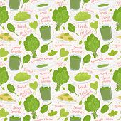 hand drawn spinach seamless pattern