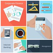 Corporate finance, web banking, management concept