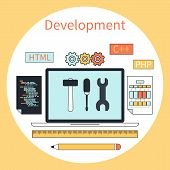 Web development instruments concept