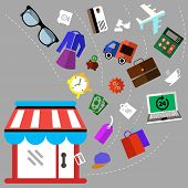 Illustration of shoping and different goods