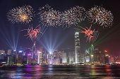 Fireworks Celebration at Hong Kong city
