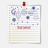 Dear Santa Card With Cute Christmas Balls