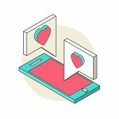 Isometric illustration for Valentine's Day