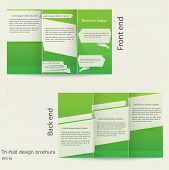 Tri-fold Brochure Design. Brochure Template Design With Green Color. Origami Style